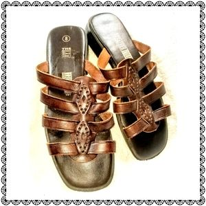 {The Leather Collection} brown mules/sandals, sz 8